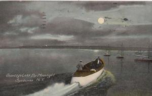 New York Syracuse Boating On Onondaga Lake By Moonlight 1914