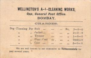 India Bombay  Fee Card for Wellington A-1 Cleaning Works also Tobacconists