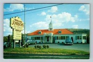 Barre VT-Vermont Howard Johnson's Classic Cars Clock Advertising Chrome Postcard