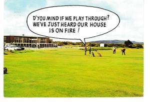 postcard comic / Golf OUR HOUSE IS ON FIRE! posted 1986