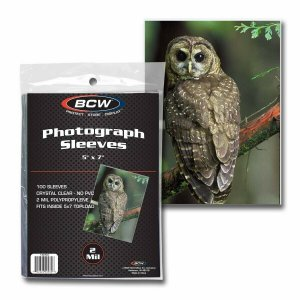 Photograph Sleeves - 5 X 7 BCW Crystal Clear Protector Pack of 100