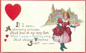 Valentine~Helen E Jeffers~Charming Princess~Crown~Fold Fan~Castle~Stecher 89 B