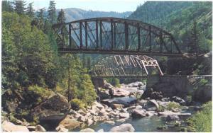 Tobin Bridges, Railroad & Highway in Feather River Canyon California, Chrome