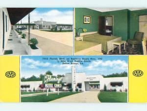 Unused 1950's OLD CARS & FAMINGO COURT MOTEL Baton Rouge Louisiana LA s5204-22