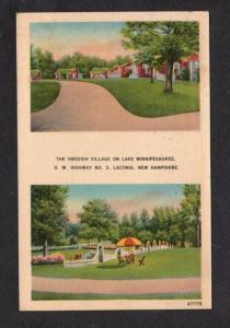 NH Swedish Village Cabins Lake Winnipesaukee LACONIA New Hampshire Postcard PC