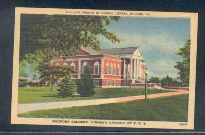 Virginia postcard McConnell Library Radford College