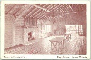 Omaha, Nebraska Postcard CAMP BREWSTER Interior of the Log Cabin 1938 Cancel