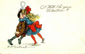 Greeting - Valentine. O, Will I Be Your Valentine? Buster Brown - Artist Sign...