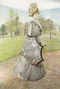 Chiffon Day Ascot Style Horse Racing Dress Bath Museum Postcard