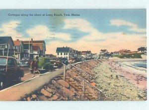 Linen COTTAGE SCENE York Beach - Near Ogunquit & Dover & Portsmouth ME AE3041