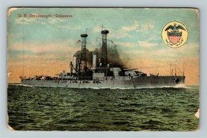 United States Navy Dreadnought Delaware Vintage Postcard