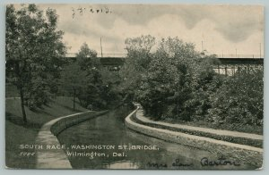 Wilmington Delaware~South Race Washington St Bridge~c1910 Postcard