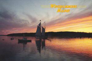 Sailboats Windjamming In Maine