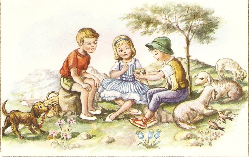 Children. Picnic with lambs, dog Lovely Spanish postcard 950s