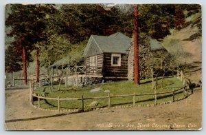 North Cheyenne Canon Colorado~Bruin's Inn~Wooden Fence Around Log Cabin~c1910