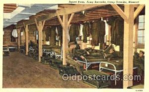 Squad Room, Army Barrack, Camp Crowder, Missouri, USA, Military Linen Postcar...