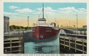 SOO, Michigan, 1910-30s; Two Lake Freighters Locking Down in Davis Lock, Guard G