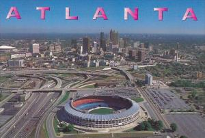 An Aerial View Of The Atlanta Fulton County Stadium With The Georgia Dome And...