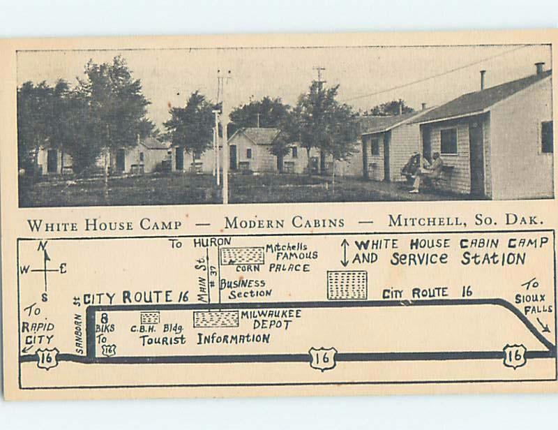 1940's WHITE HOUSE CAMP CABINS MOTEL Mitchell South Dakota SD c4149