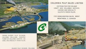 Business Postcard Receipt, Aerial View, Paper Pulp Plant, Columbia Pulp Sales...