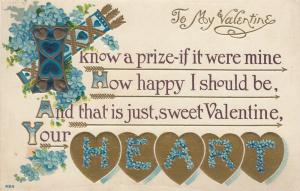 To My VALENTINE, Poem, 00-10s; Gold Hearts with flowered letters spelling HEART