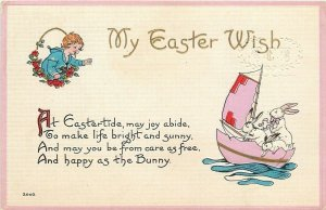 Easter Fantasy~White Rabbits Sail Lavender Egg Shell Boat~Gold Leaf~Emboss~1913