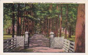 Tennesse Nashville Entrance To The Hermitage Home Of President Jackson 1937