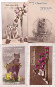Cats & Giant Vases Flowers 4x Happy Birthday Old Postcard s