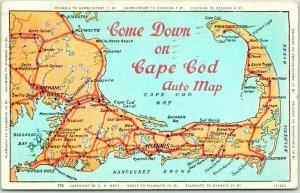 1930 CAPE COD Massachusetts Postcard Come Down of Cape Cod Road Map w/ Cancel