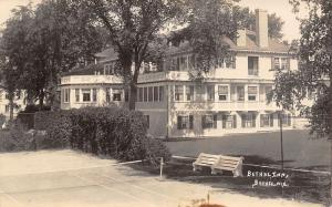 Bethel ME White Bench by Bethel Inn~Tennis Court~Real Photo Postcard RPPC c1937