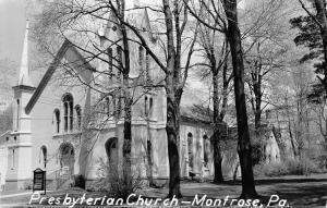 Montrose Pennsylvania~Presbyterian Church Thru Trees~1960 Real Photo Postcard