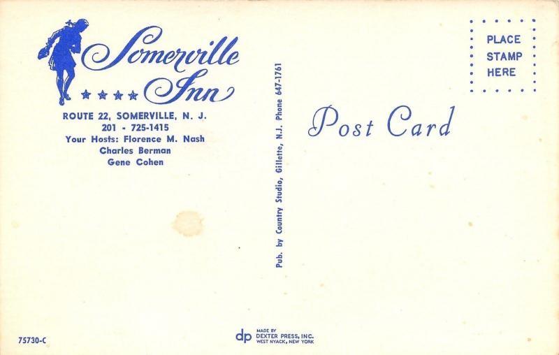 Somerville New Jersey~Somerville Inn~1960 Postcard