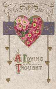 VALENTINE DAY, PU-1911; A Loving Thought, Embossed Flower filled heart