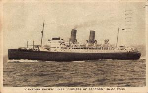 Canadian Pacific Liner Duchess of Bedford ship Postcard