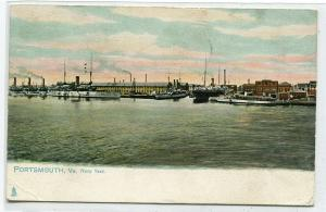 Portsmouth Navy Yard Panorama US Battleships Virginia 1908 Tuck postcard