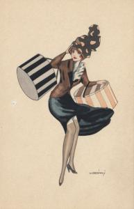 ART DECO ; Female wearing brown/black dress holding hat boxes, 1910-20s