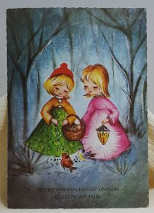 Merry Christmas Happy New Year German Girls Vintage Postcard