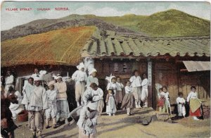 Village Street Scene Chusan Korea Vintage Postcard