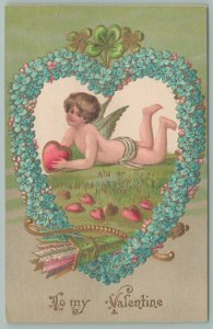 Valentine~Boy Cupid In Forget-Me-Not Heart Portal Holds Heart~Quiver~Arrows~Gold