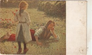 Pla y Rubio. Mother and daughter in poppy field. Amapolas Fine painting vintag