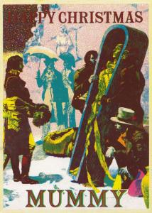 Mummy in Crypt at Christmas Getting Drunk Recipe Alcohol Comic Horror Postcard