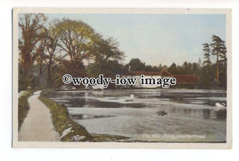 tq1513 - Surrey - Early View of the Mill Pond, in Leatherhead - Postcard
