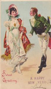 NEW YEAR; Sweet Greeting, Gentleman approaching Lady wearing Bonnet, PU-1905