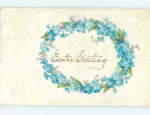 Divided-Back Easter RING OF BLUE FLOWERS o5612