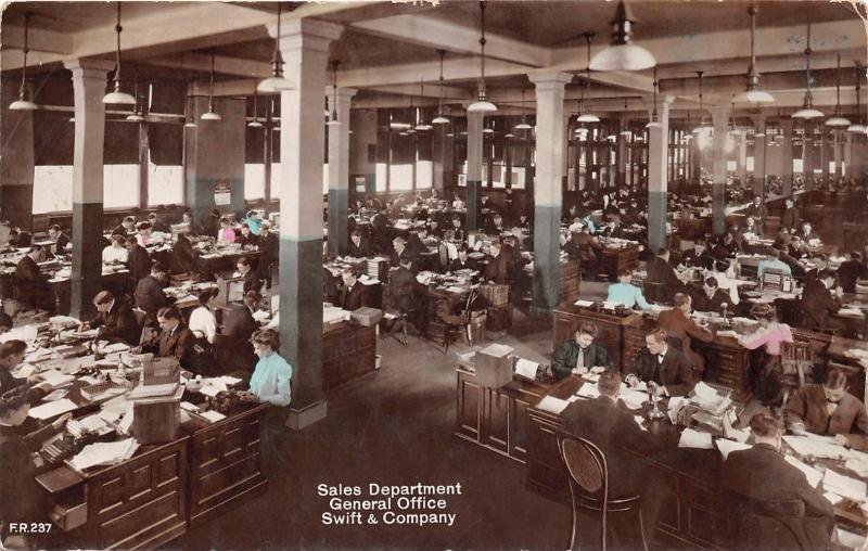 Chicago Illinois~Swift Sales Department General Office~LOT Of Desks~Vintage  RPPC
