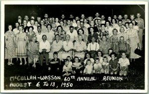 Vintage 1950 RPPC Photo Postcard McCULLAH-WASSON 60th ANNUAL FAMILY REUNION