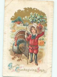 Pre-Linen Thanksgiving TURKEY BESIDE CHILD CARRYING FOOD BASKET AB4310
