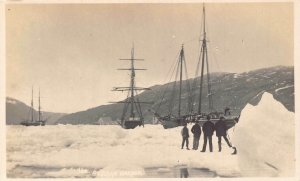 Canada Sealing in Newfoundland St John's Harbour Ships Real Photo Postcard