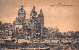 Prins Hendrikkade met St Nicolaaskerk Amsterdam Holland Unused