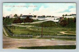 Mackinac Island MI-Michigan, Old Fort And Park, Vintage c1911 Postcard